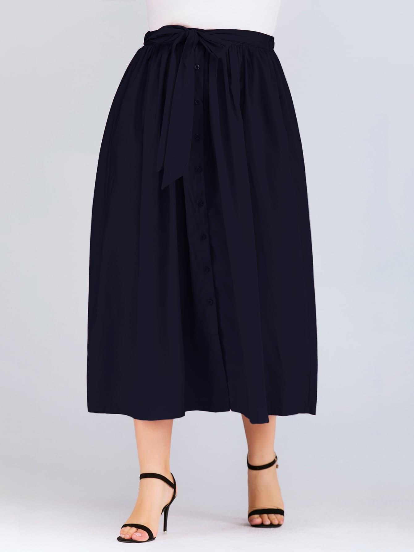 Фото - Однотонная юбка размера плюс с пуговицами и узлом от SheIn цвет тёмно-синие