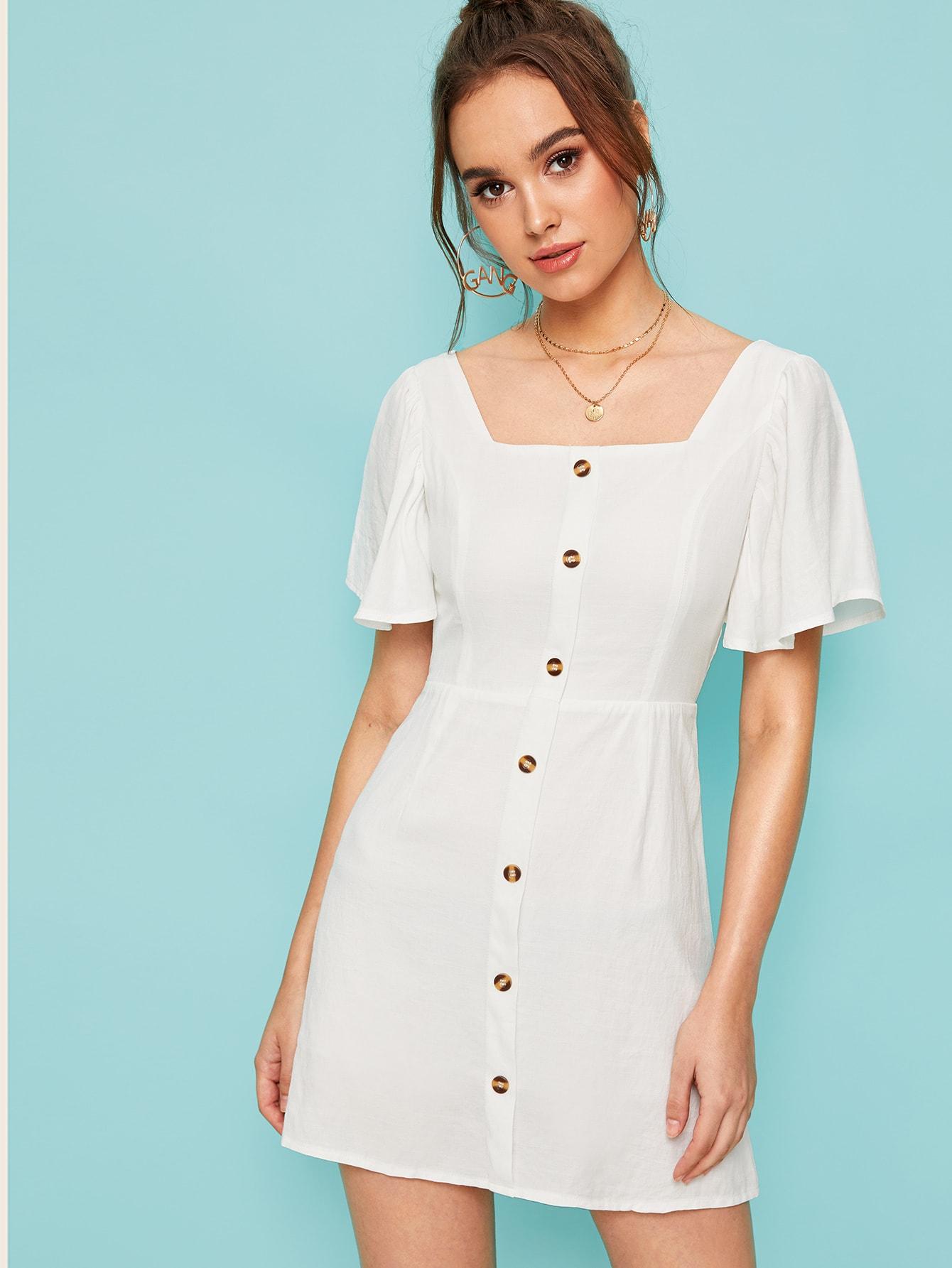 Фото - Однотонное платье с квадратным вырезом от SheIn цвет белые