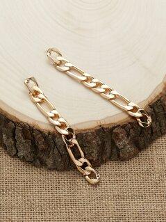 Shiny Chain Link Stud Back Dangling Earrings