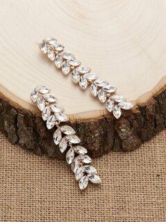 Rhinestone Crystal Layered Leaf Stud Back Earrings