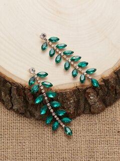 Rhinestone Crystal Leaf Vine Dangling Earrings