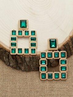 Emerald Rhinestone Square Stud Back Earrings