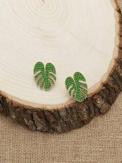 Woven Thread Leaf Stud Back Earrings