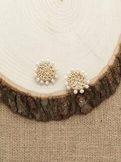 Woven Straw Pearl Detail Stud Back Earrings