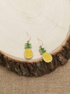 Woven Thread Pineapple Dangling Hook Earrings