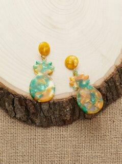 Two Tone Acrylic Pineapple Dangling Earrings
