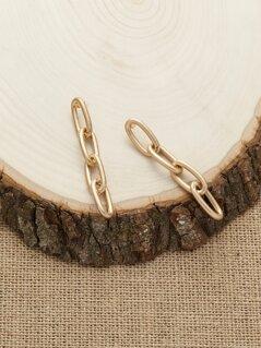 Stud Back Matte Chain Link Dangling Earrings