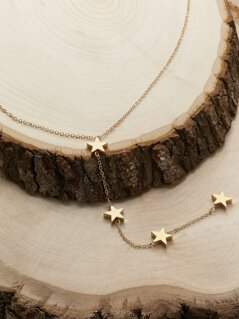 Dainty Chain Star Detail Lariat Necklace