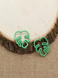 Woven Leaf Outline Dangling Hook Earrings