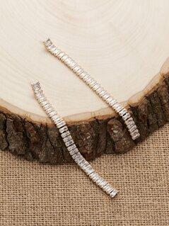 Baguette Crystal Dangling Strip Earrings