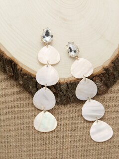 Mother Of Pearl And Crystal Detail Dangle Earrings