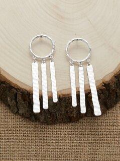 Hammered Bar Detail Dangling Hoop Earrings