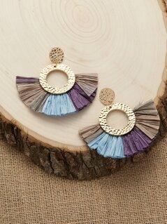 Hammered Detail Colorblock Fan Fringe Earrings