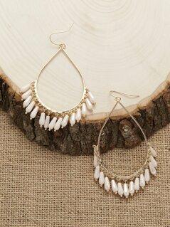 Iridescent Bead Fringed Teardrop Earrings