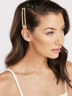 Pearl And Rhinestone Crystal Detail Hair Clip
