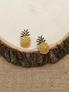 Rhinestone Crystal Stud Back Pineapple Earrings