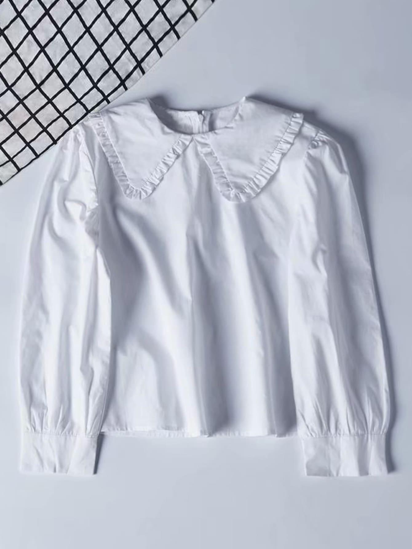 Фото - Однотонная блуза с молнией сзади от SheIn белого цвета