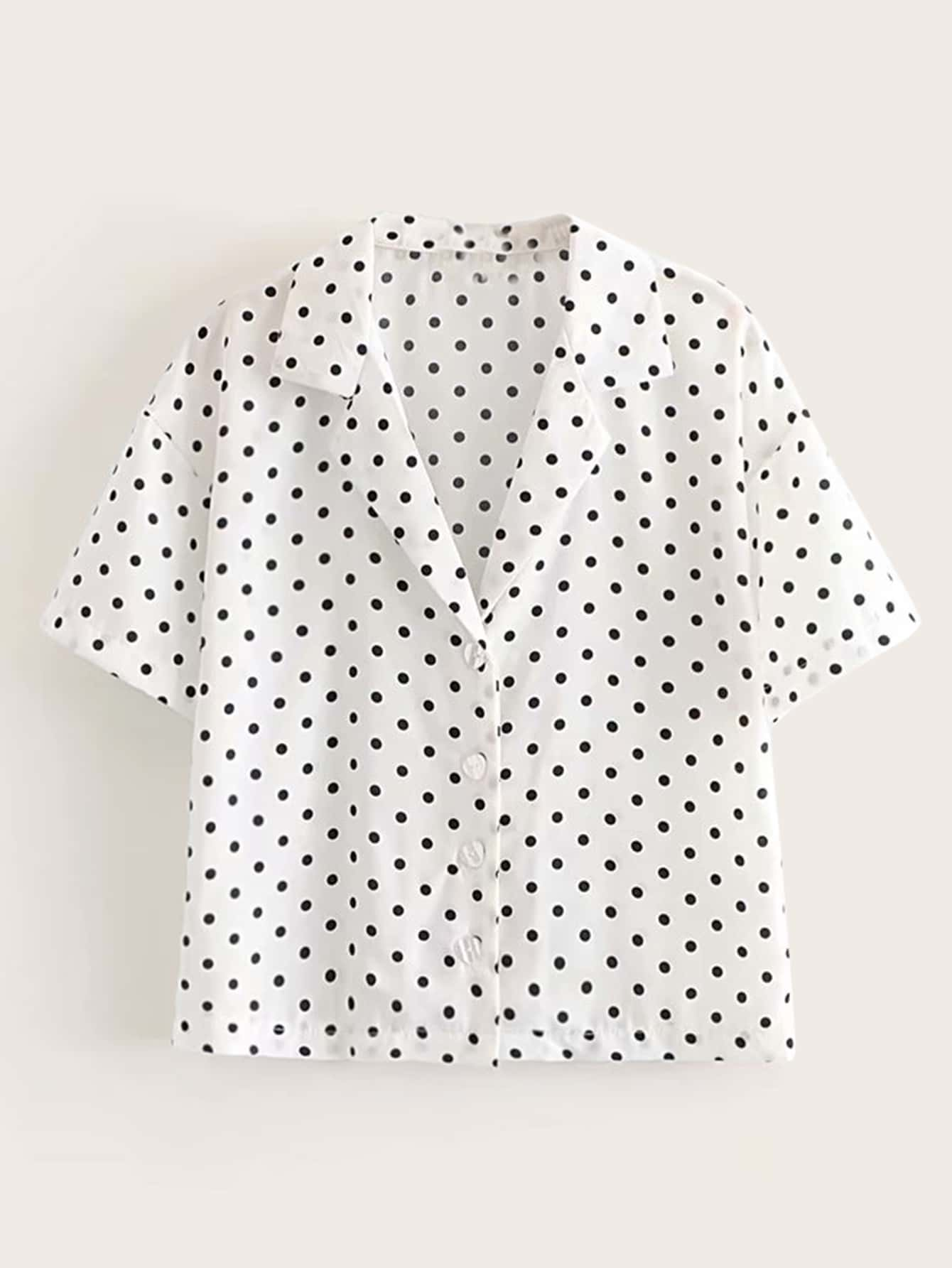 Фото - Блузу в горошек с пуговицами от SheIn цвет чёрнобелые