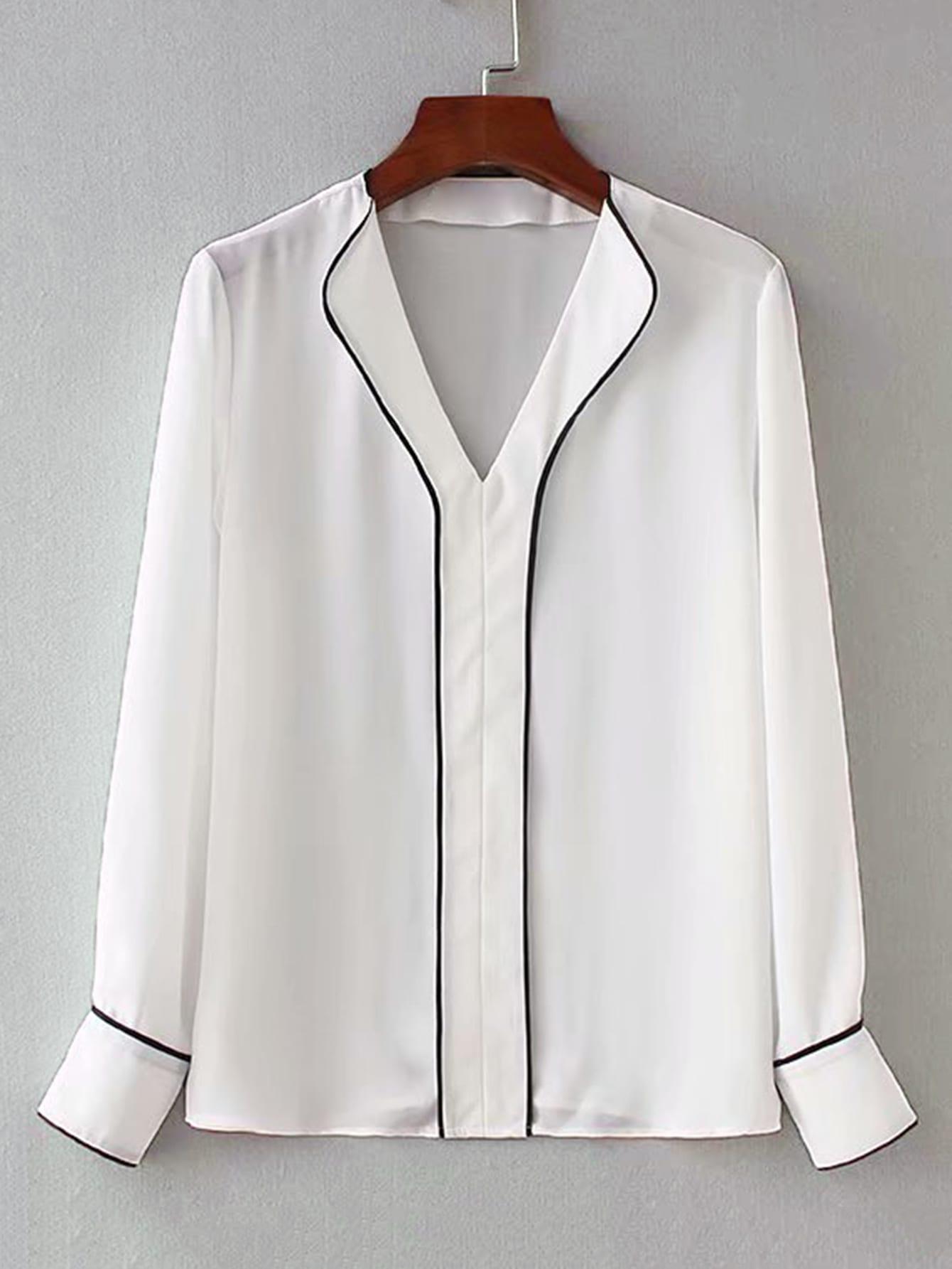 Фото - Блузу с v-образным вырезом и контрастной отделкой от SheIn белого цвета