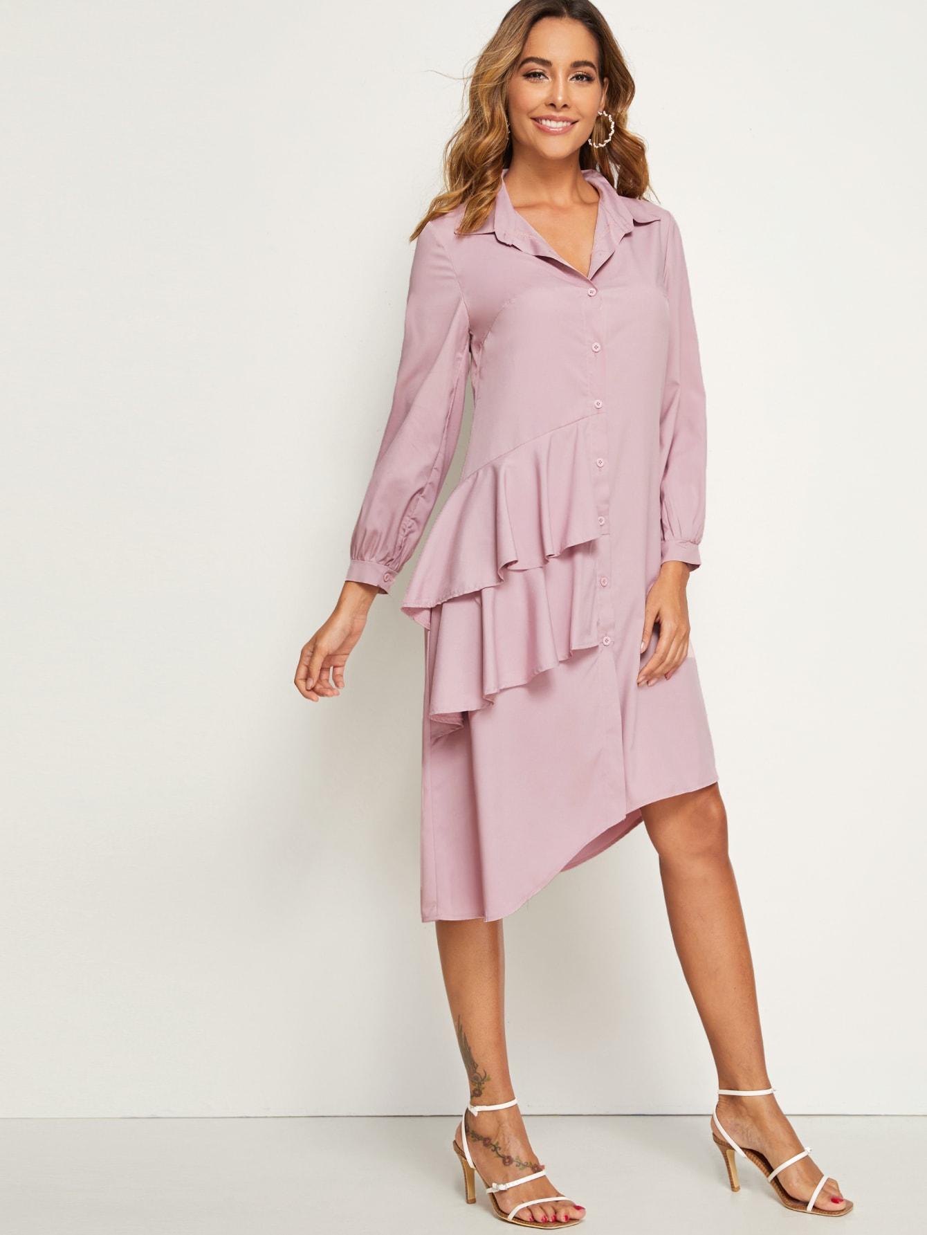 Фото - Асимметричное платье-рубашка с оборками от SheIn цвет розовые
