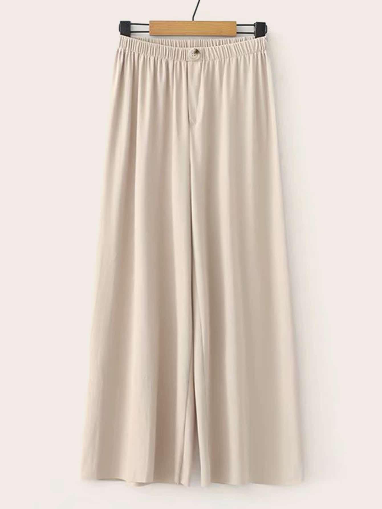 Фото - Широкие брюки с пуговицами от SheIn бежевого цвета