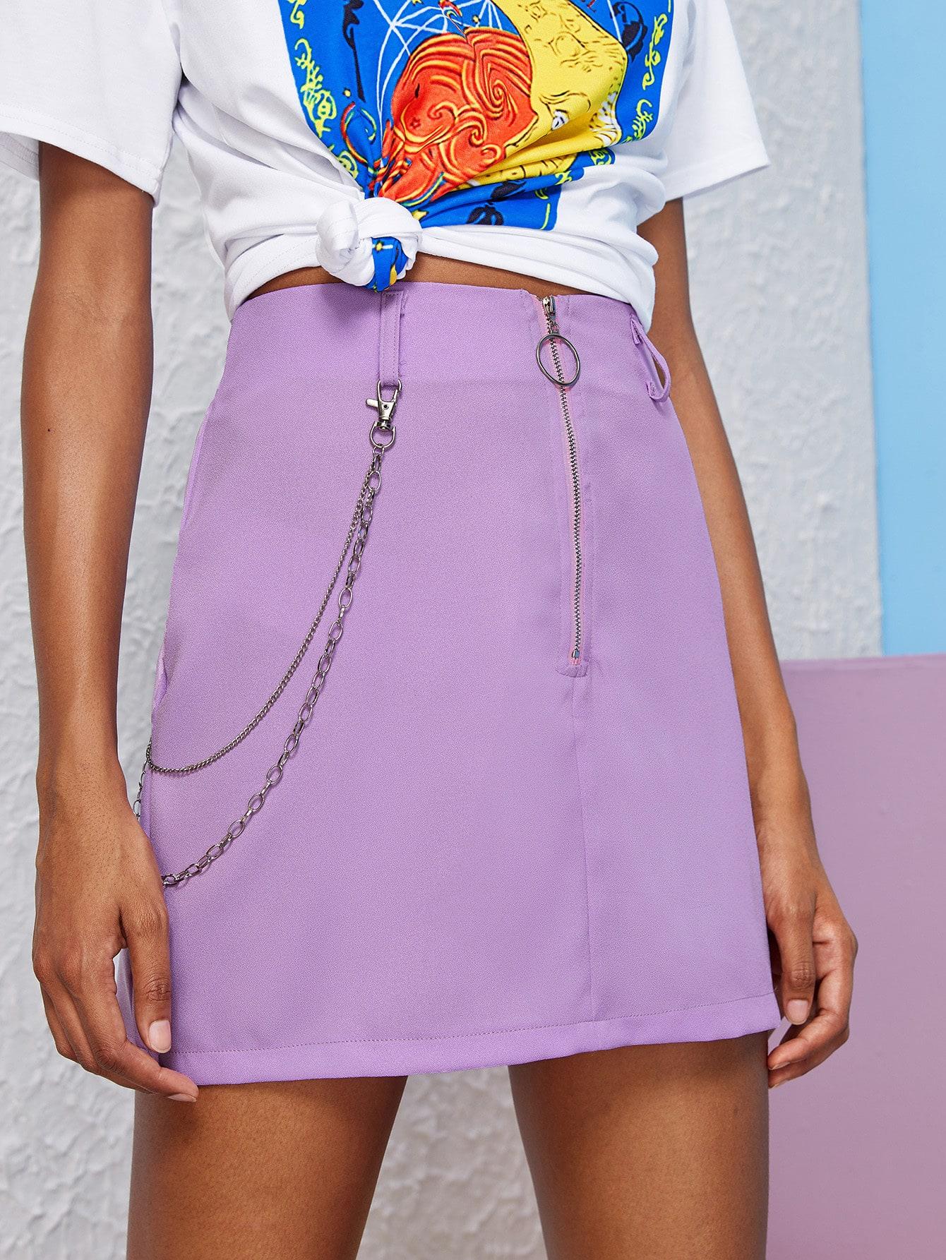 Фото - Юбку на молнии от SheIn фиолетового цвета