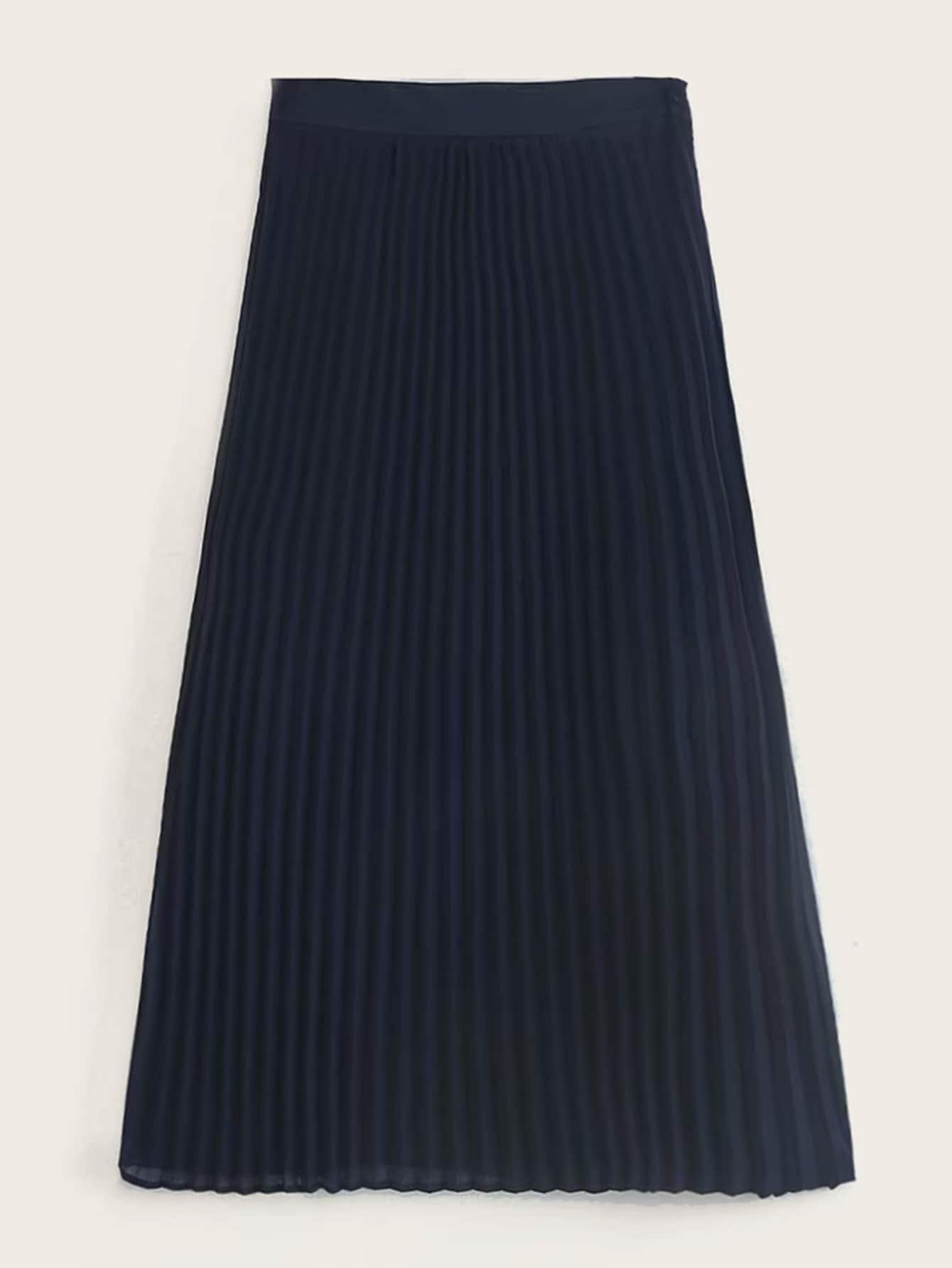 Фото - Однотонная плиссированная юбка-миди от SheIn цвет темно синий
