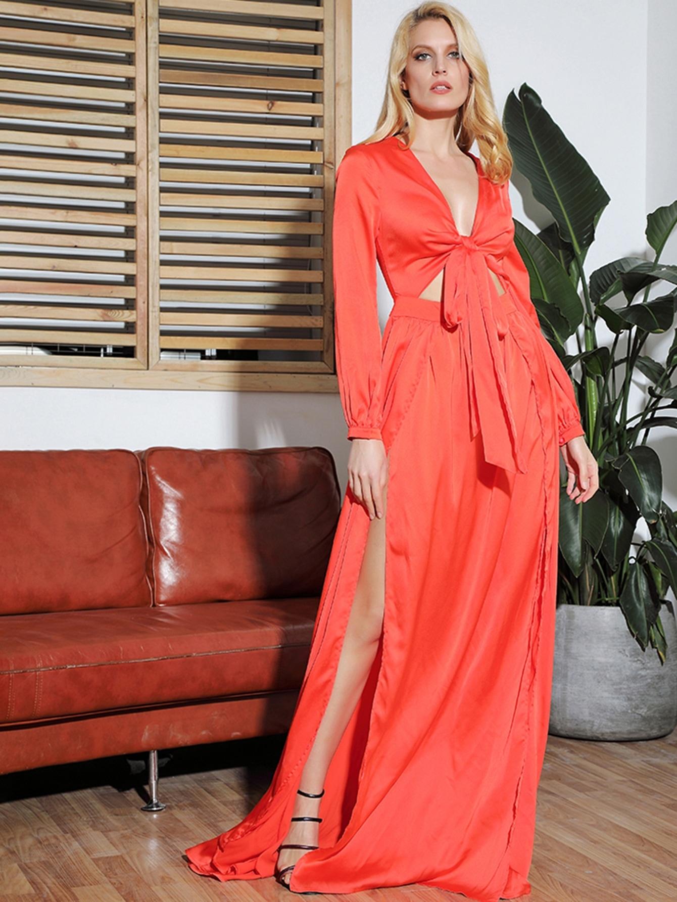 Фото - LOVE&LEMONADE длинное платье с узлом и разрезом от SheIn цвет оранжевые