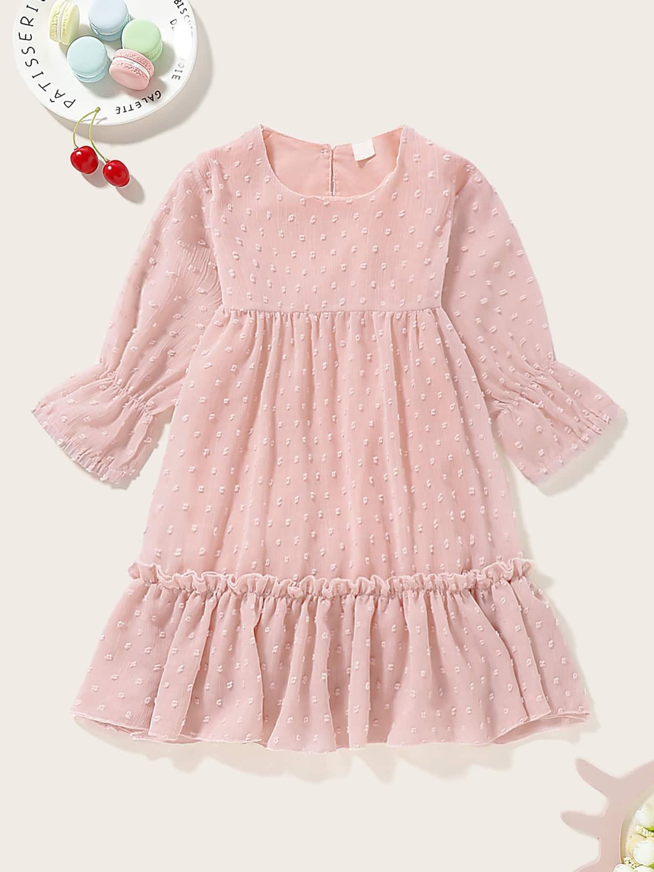 Фото - Сетчатое платье с оборками для девочек от SheIn цвет розовые