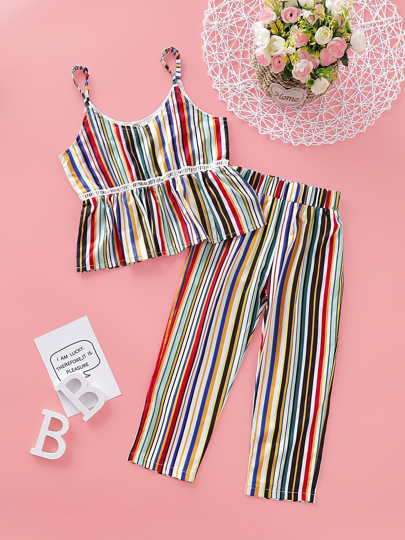 Фото - Радужные полосатые майка и брюки для девочек от SheIn цвет многоцветный