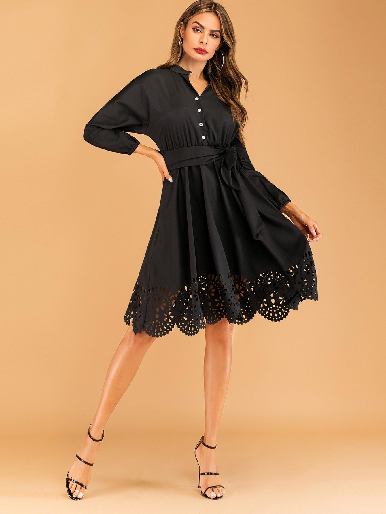 Фото - Однотонное платье-рубашка с поясом от SheIn цвет чёрные