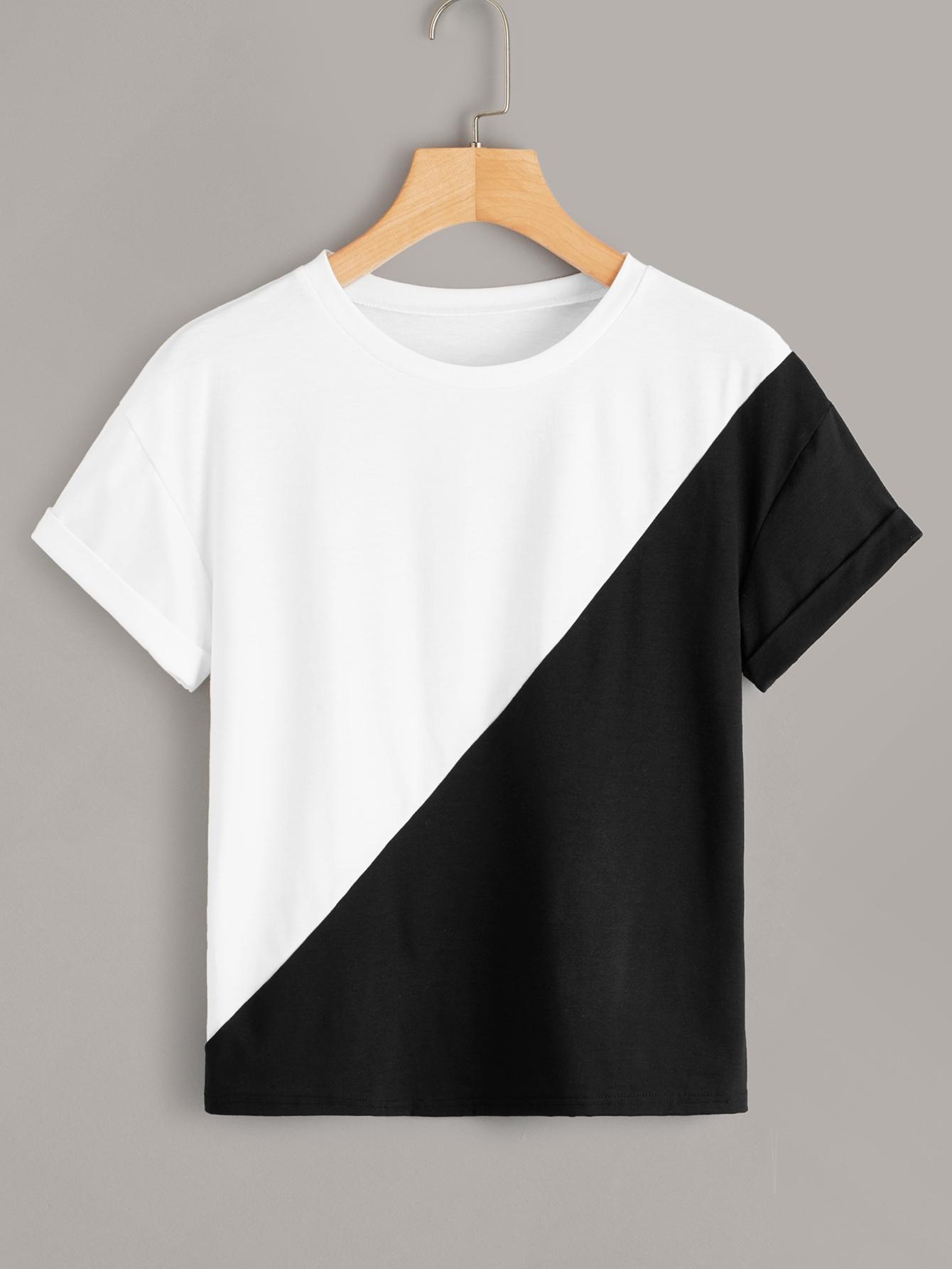 Фото - Двухцветная футболка от SheIn цвет чёрнобелые