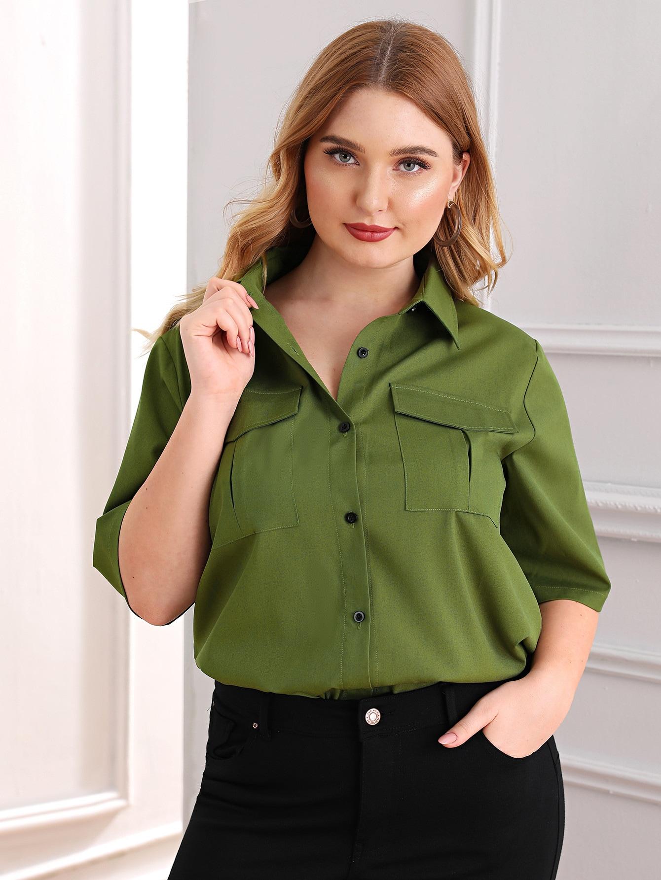 Фото - Блузу размера плюс с пуговицами от SheIn цвет цвета хаки