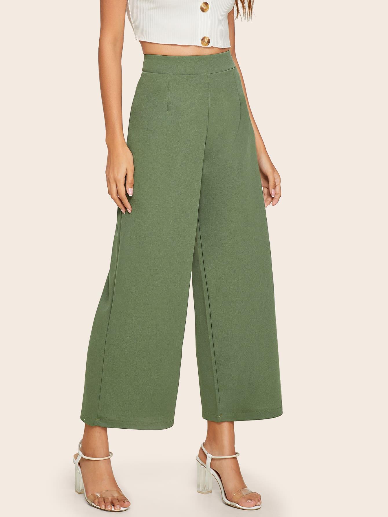 Фото - Широкие брюки с молнией сзади от SheIn цвет цветахаки