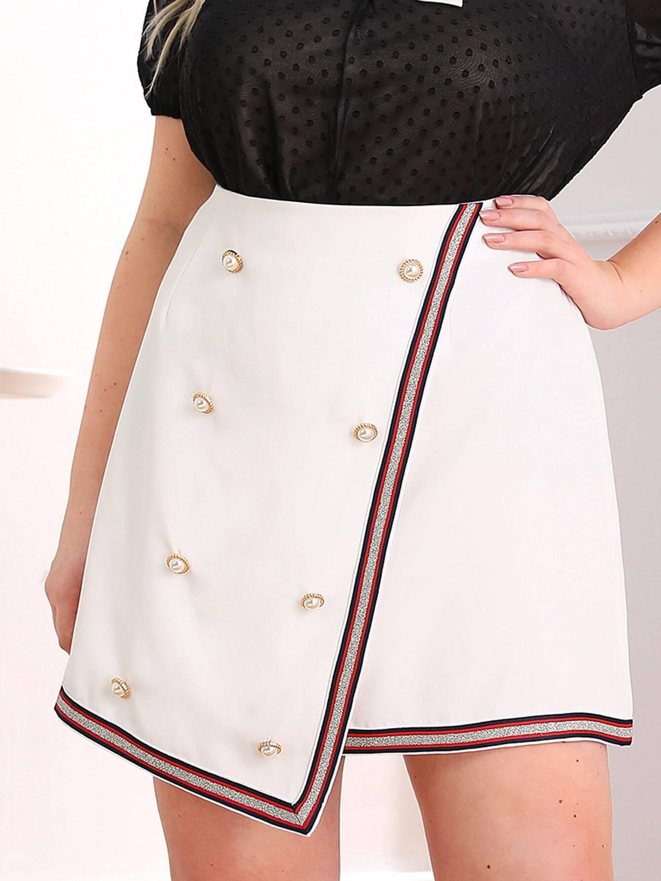 Фото - Асимметричная юбка размера плюс с пуговицами от SheIn цвет белые