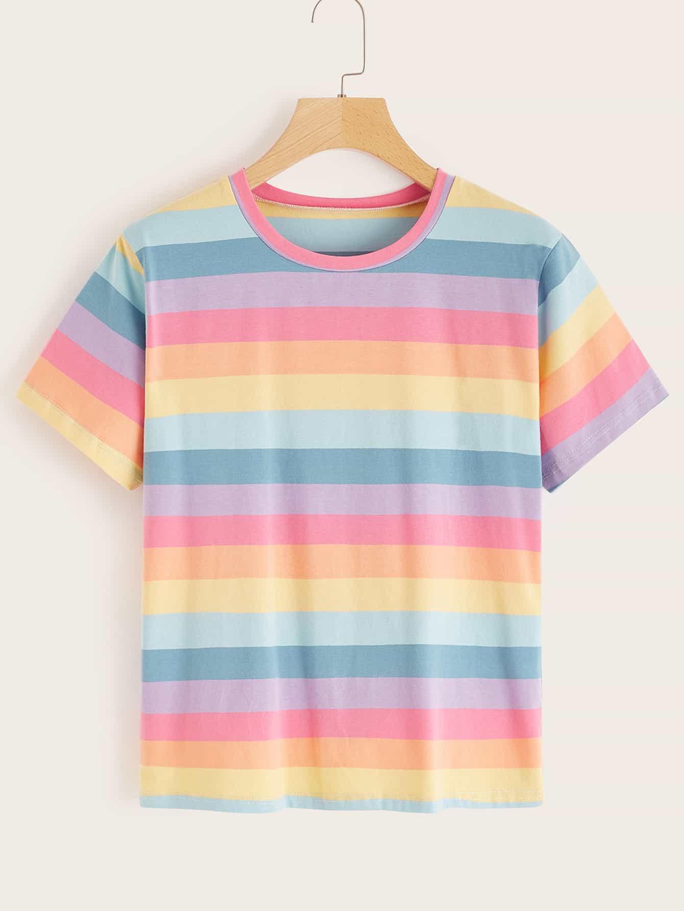 Фото - Радужная полосатая футболка от SheIn цвет многихцветный