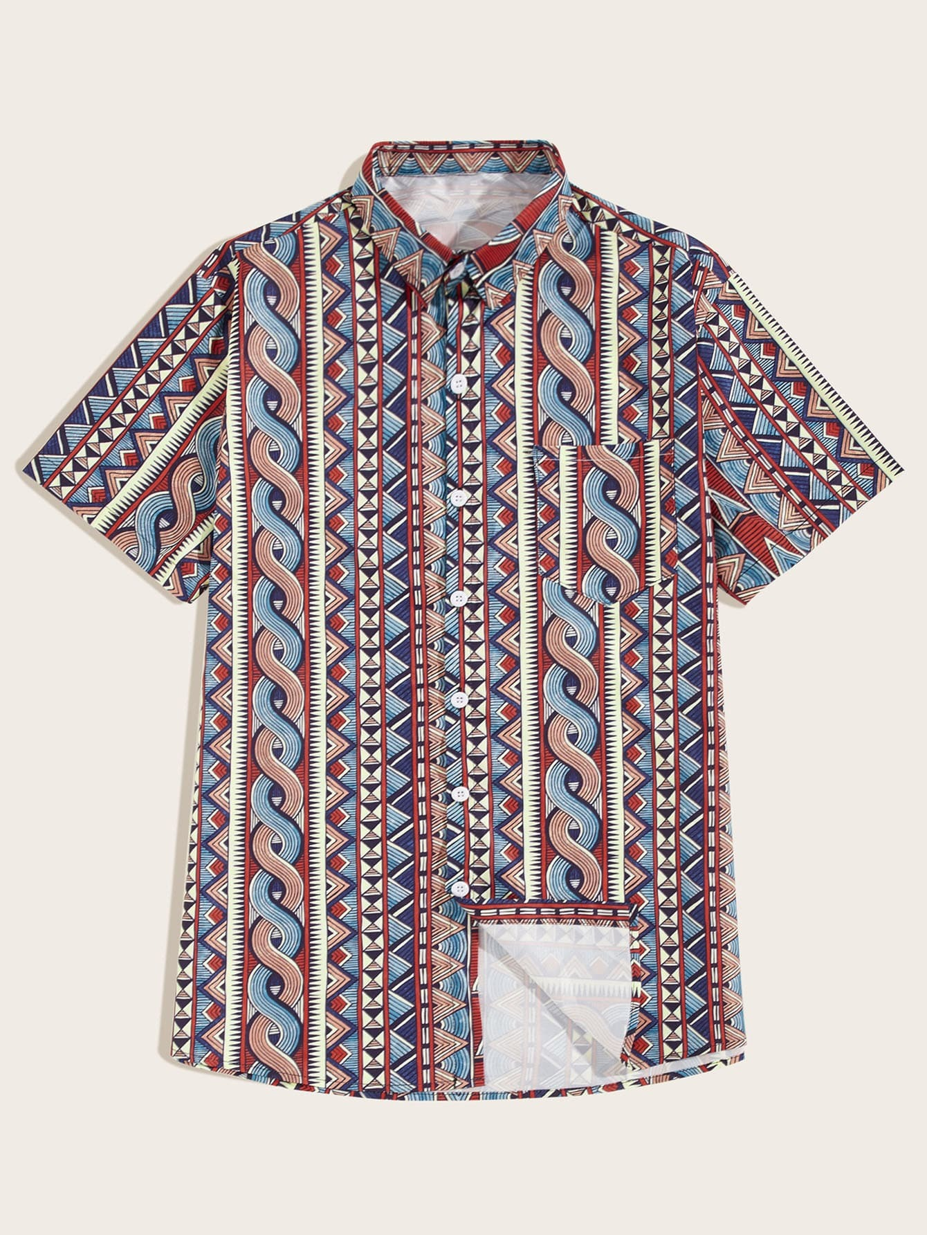 Фото - Мужская однобортная рубашка с геометрическим принтом от SheIn цвет многоцветный