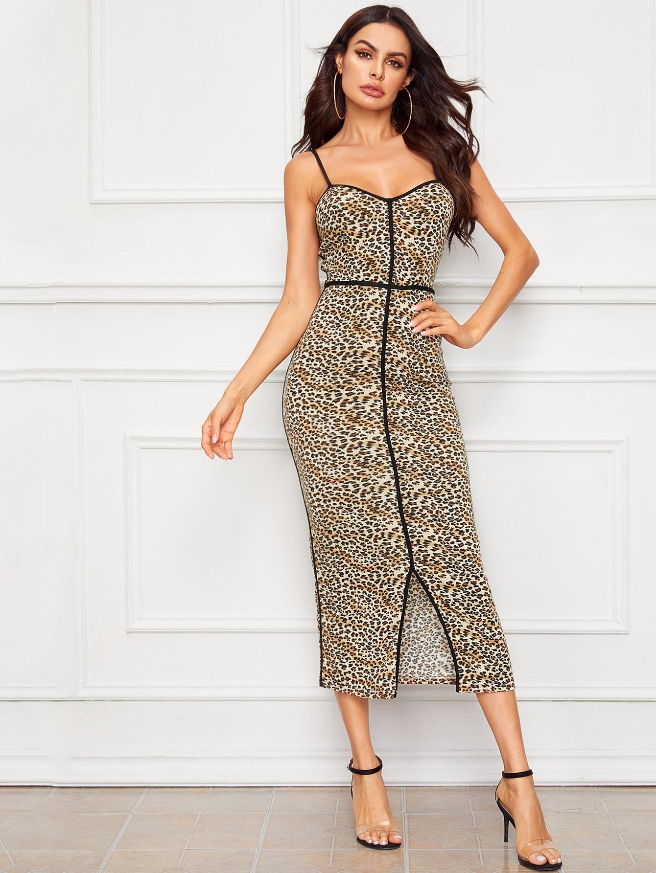 Фото - Платье с контрастной отделкой и леопардовым принтом от SheIn цвет многоцветный