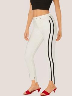 Tuxedo Stripe Raw Step Hem Skinny Jeans