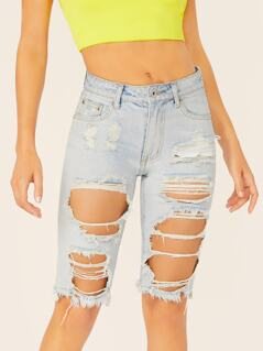Destroyed Raw Hem Bermuda Denim Shorts