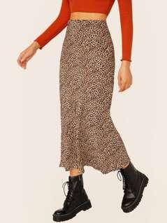 Elastic Waist Flared Leopard Midi Skirt