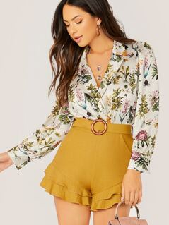 Surplice V-Neck Long Sleeve Floral Bodysuit