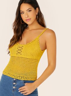 Scalloped Edge Crochet Knit Cami Tank Top