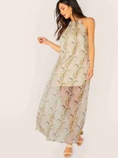 Sleeveless Halter Neck Leaf Print Maxi Dress