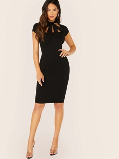 Neckline Tie Cut Out Sleeveless Bodycon Dress