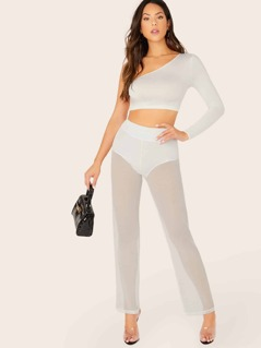 Elastic Waist Sheer Mesh Wide Leg Pants