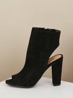 Open Toe Exposed Heel Ankle Boots