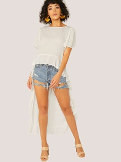Short Sleeve Ruffle High Low Hem Top