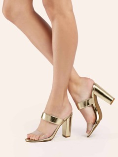 Double Band PVC Detail Metallic Heeled Sandals