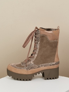 Snakeskin Lace Up Combat Style Lug Sole Boots